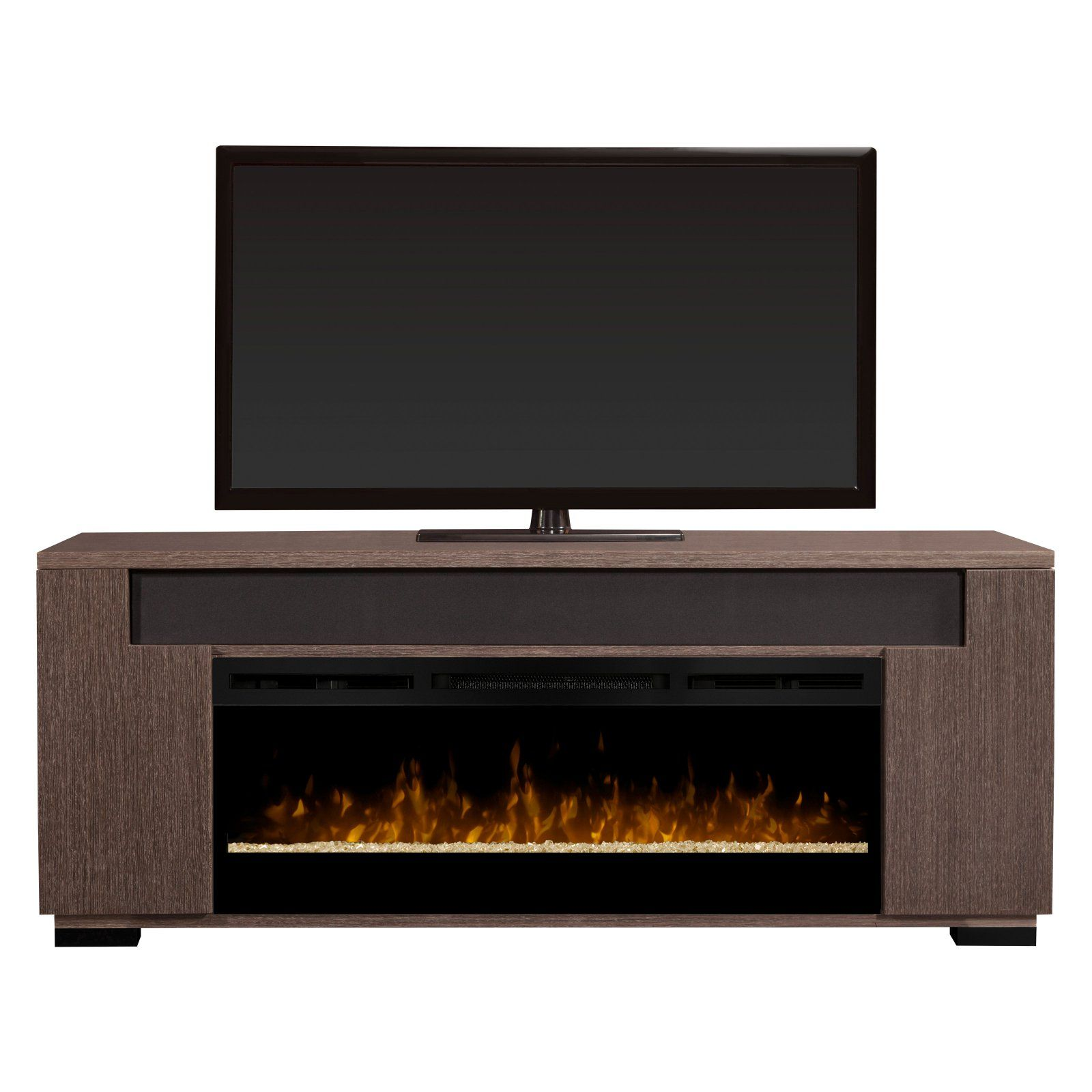 Dimplex Haley Electric Fireplace Tv Stand With Soundbar Rift Gray