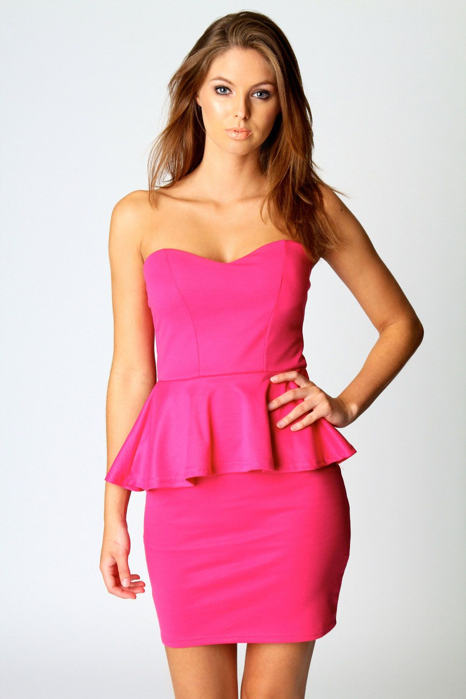 Sarah Sweetheart Peplum Dress at boohoo.com | dress elegantes ...