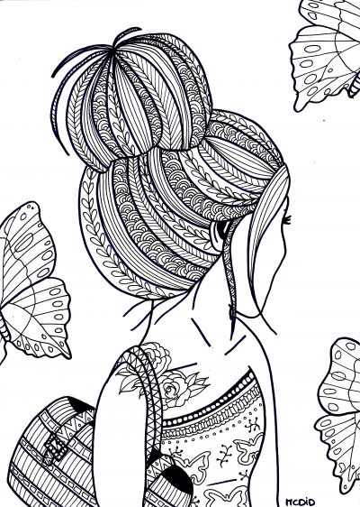 free coloring page for adults girl with tattoo gratis