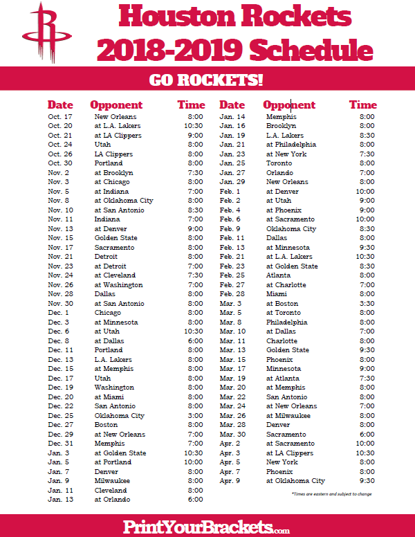 picture regarding Chicago Bulls Schedule Printable named Printable 2018-2019 Houston Rockets Agenda Printable NBA