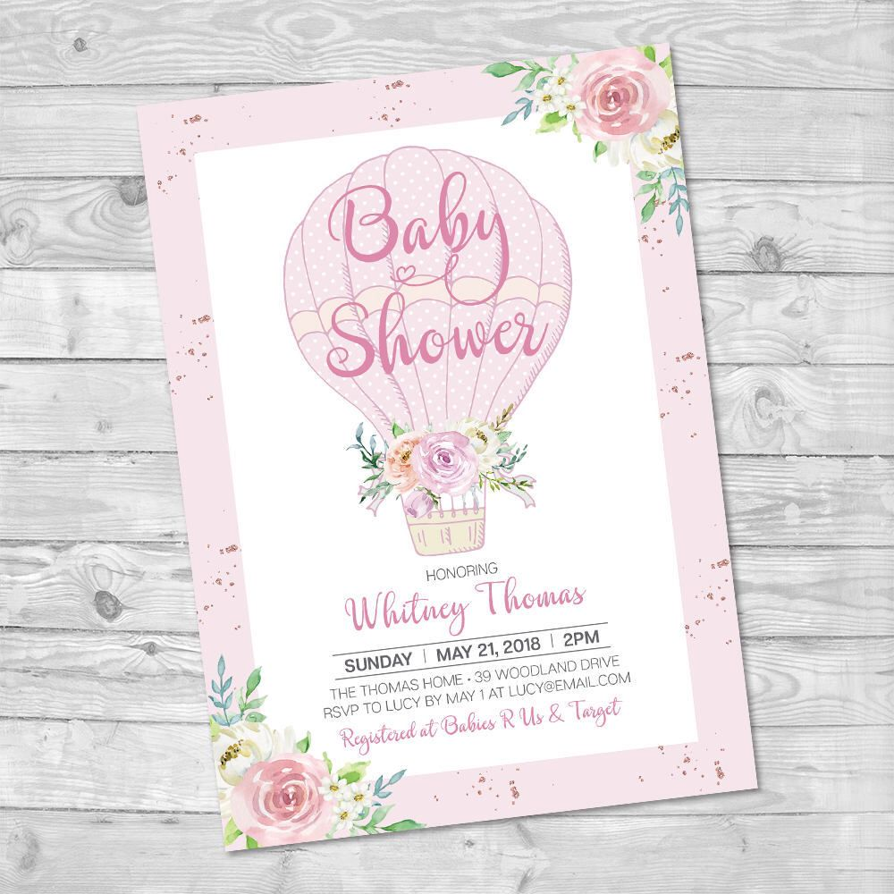 Hot Air Balloon Baby Shower Invitation, Girl Baby Shower, Pink ...