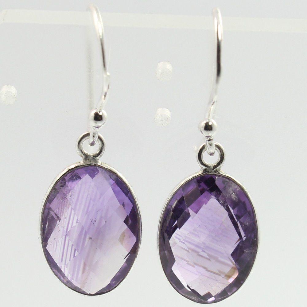 4b3cb79dd Real Purple AMETHYST Oval Checker Gemstones 925 Sterling Silver Elegant  Earrings #SunriseJewellers #DropDangle
