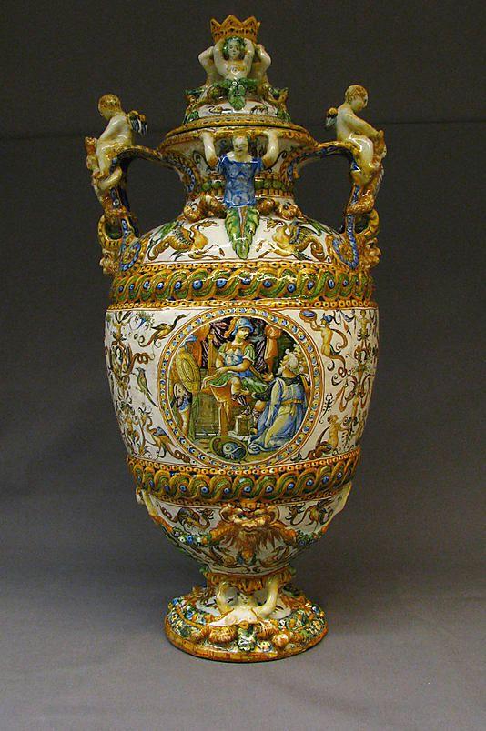 Vase, with Cover  Antonio Patanazzi  Date: ca. 1580 Culture: Italian (Urbino) Medium: Maiolica (tin-enameled earthenware)