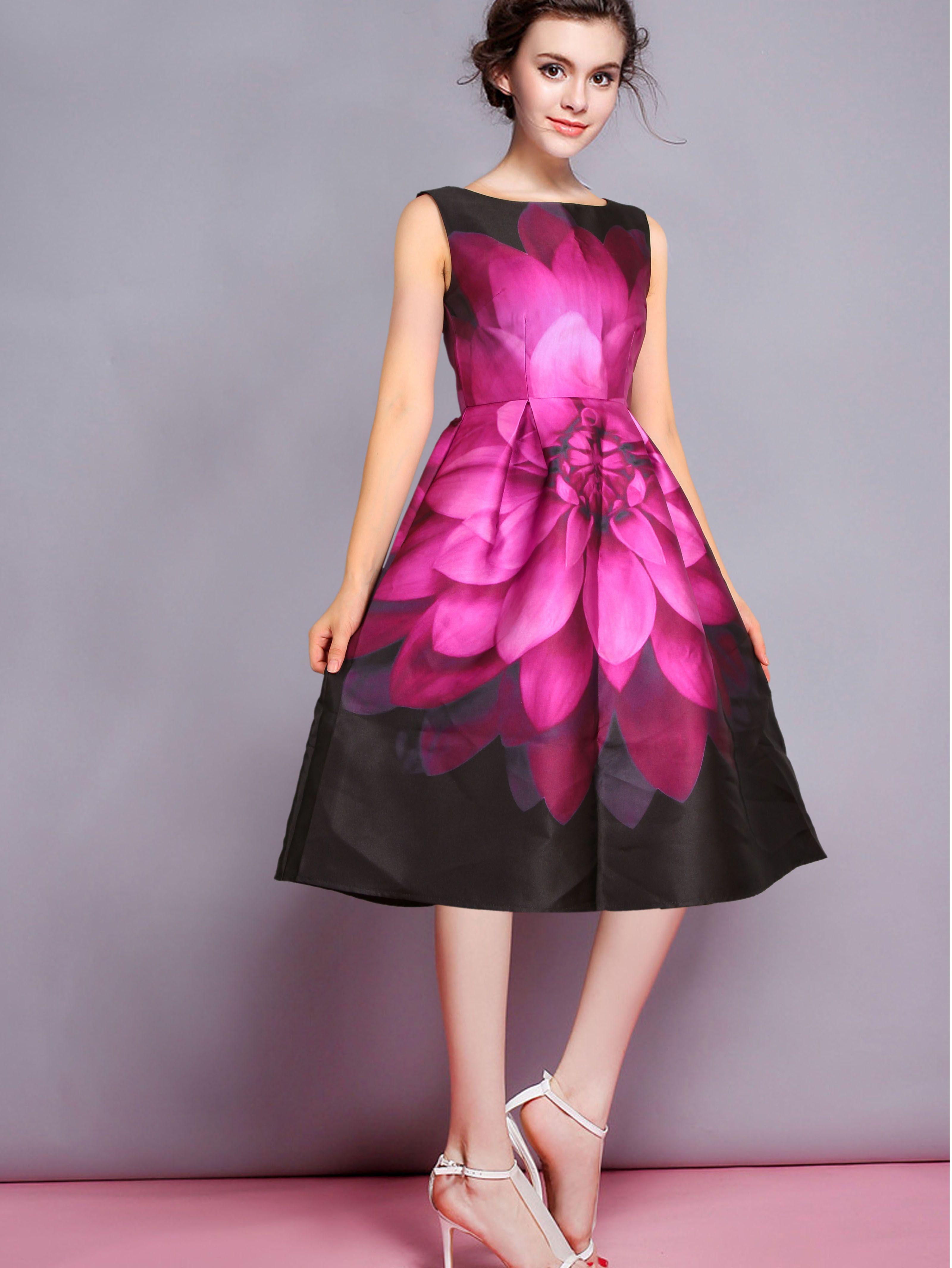Vestido sin manga florales plisada-negro | Pinterest | Manga floral ...