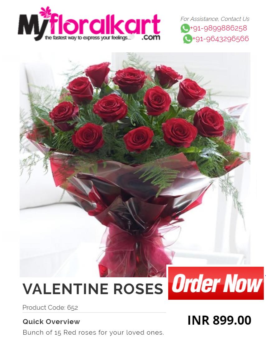 Online Send Valentine Roses By Myfloralkart Com India Florist With Same Day Delivery In Delhi Noida Gu Valentines Flowers Valentines Roses Online Flower Shop