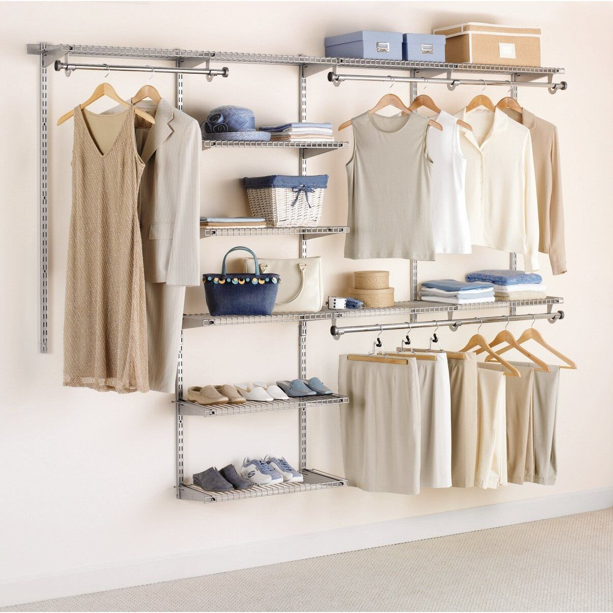 Wonderful Open Wall Mounted Wire Shelving For Open Closet Ideas Design (1204×1204)