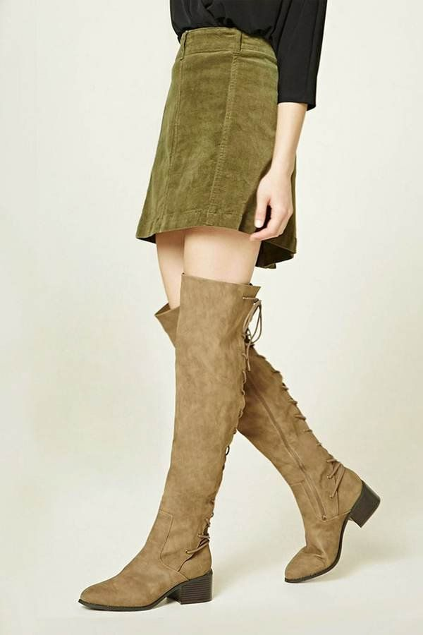 13cd879dcc1 Forever 21 olive green suede flat OTK rear lace OTK boots with suede leather  miniskirt