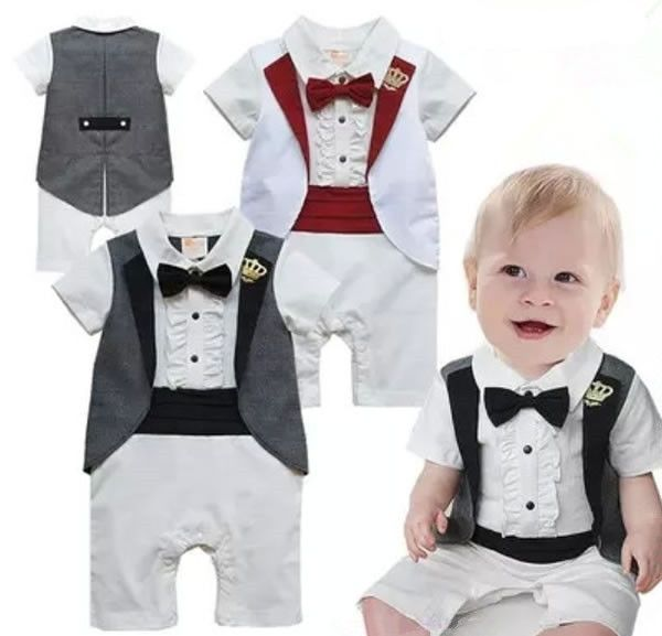 6fd8e94fab6b Baby Boy Newborn Toddler Top Bowknot Gentleman Crown Outfit Romper Clothes 0 -18M #DressyEverydayHoliday