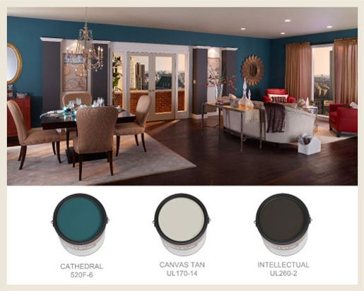 Living Large Colorfully Behr Blog Open Concept Living Room Open Floor Plan Decorating Ideas Open Floor Plan Apartments