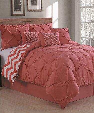 Look at this #zulilyfind! Coral Ella Seven-Piece Comforter Set #zulilyfinds