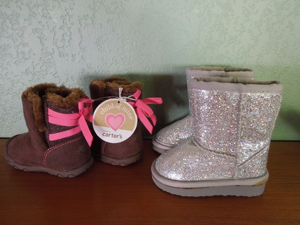 3ce4f40bc8 Carter's Lot 2 Pairs Silver Sequin, Brown Pink Baby Infant Girls ...