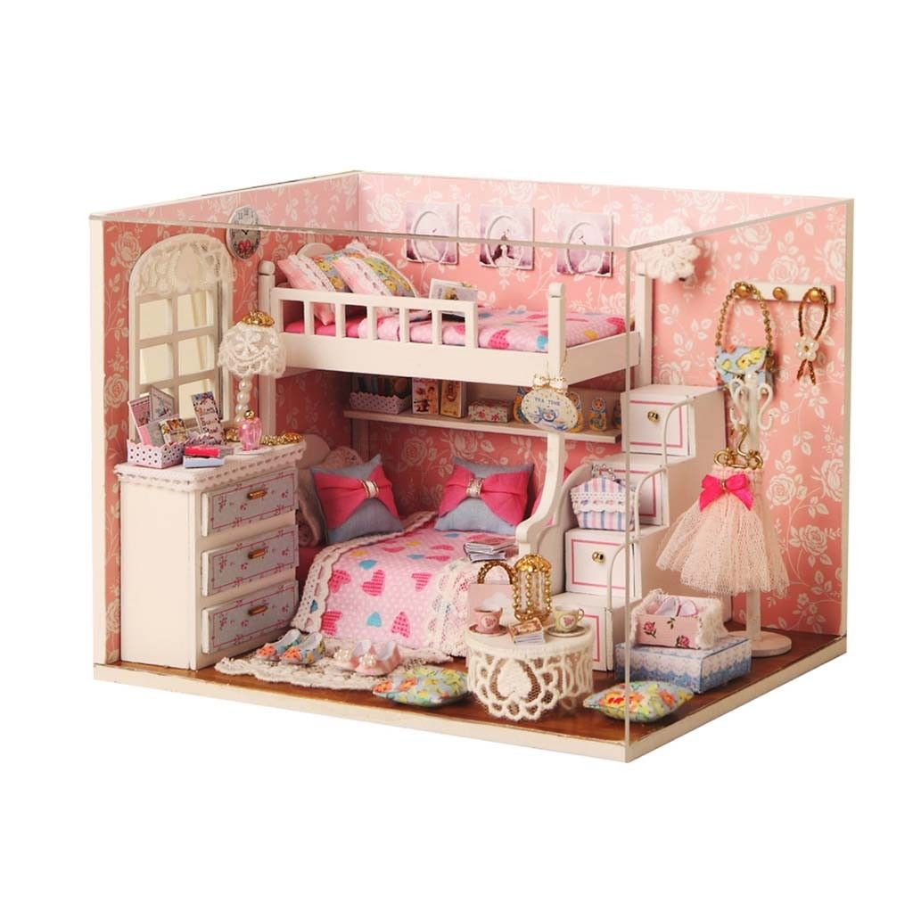 Wooden Dollhouse Miniature with LED Light Wooden