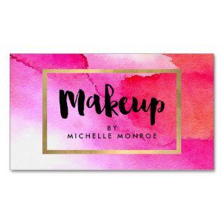 Bold Pink Watercolors Makeup Artist Business Card | Business Cards ...