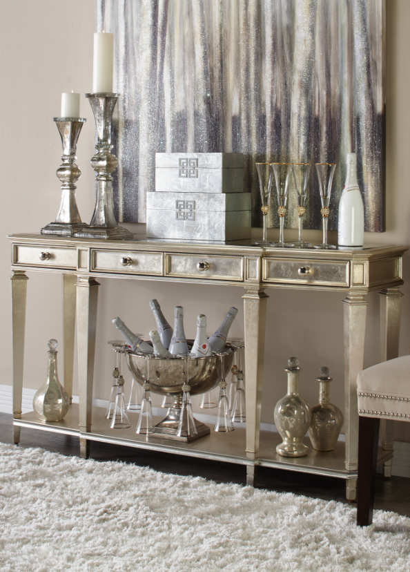 Start with champagne the empire console table finely - Mirrors for decorating tables ...