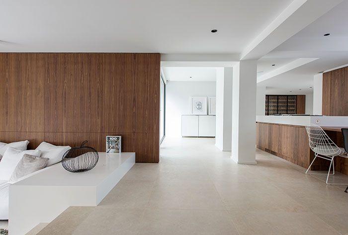 Maison Moderne / Design Intérieur / Contemporain / Salon / Cuisine / White  Et Bois /