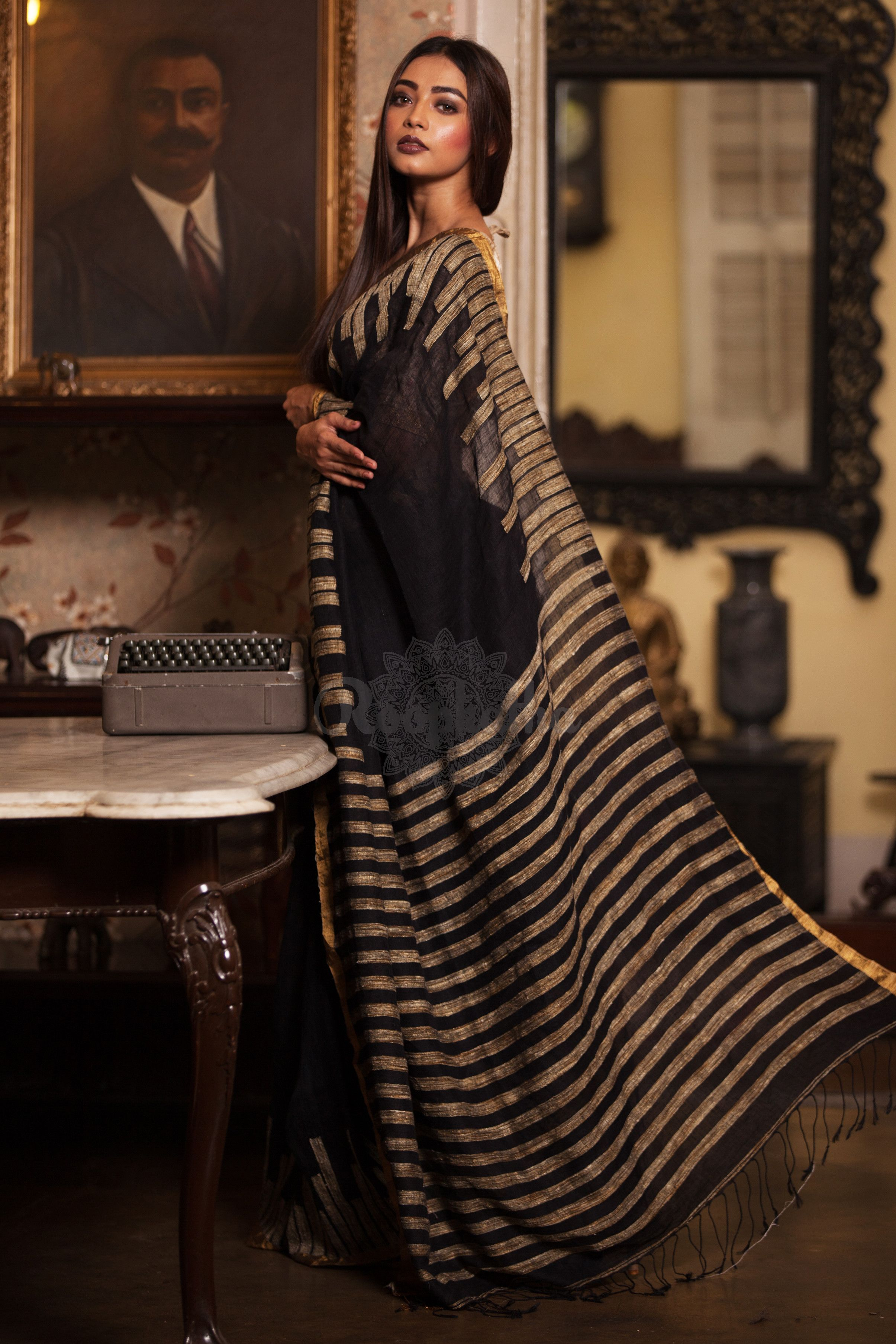 b642d3d43fa761 Black Linen Saree With Woven Design - Roopkatha - A Story of Art ...