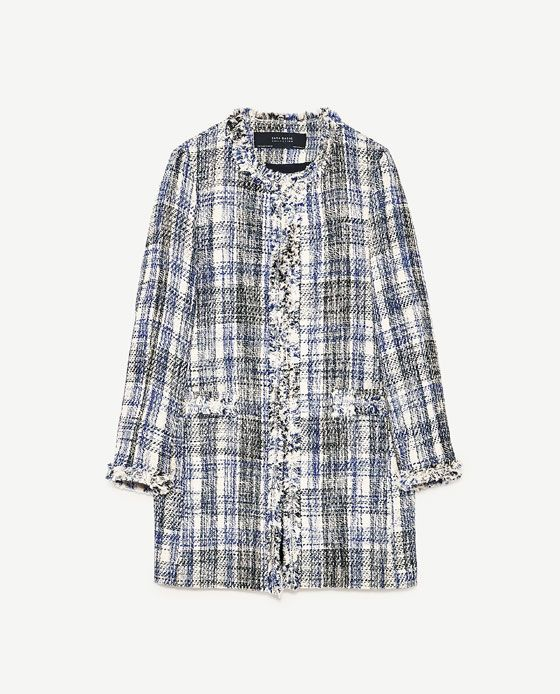 Image 8 of FRAYED CHECKED FROCK COAT from Zara