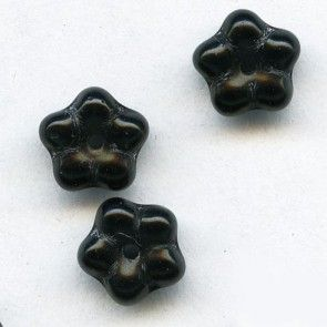 b11-bw-0962-Vintage Czech black glass flower rondelle, 8mm, pkg of 25