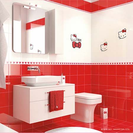 red white bathroom ideas - Red And White Bathroom
