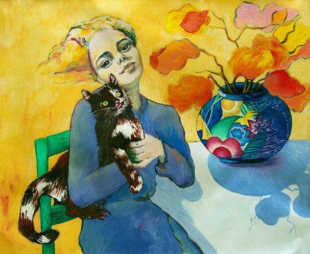 Myrtille Henrion Picco (b. 1952,French) - L'enfant et le chat
