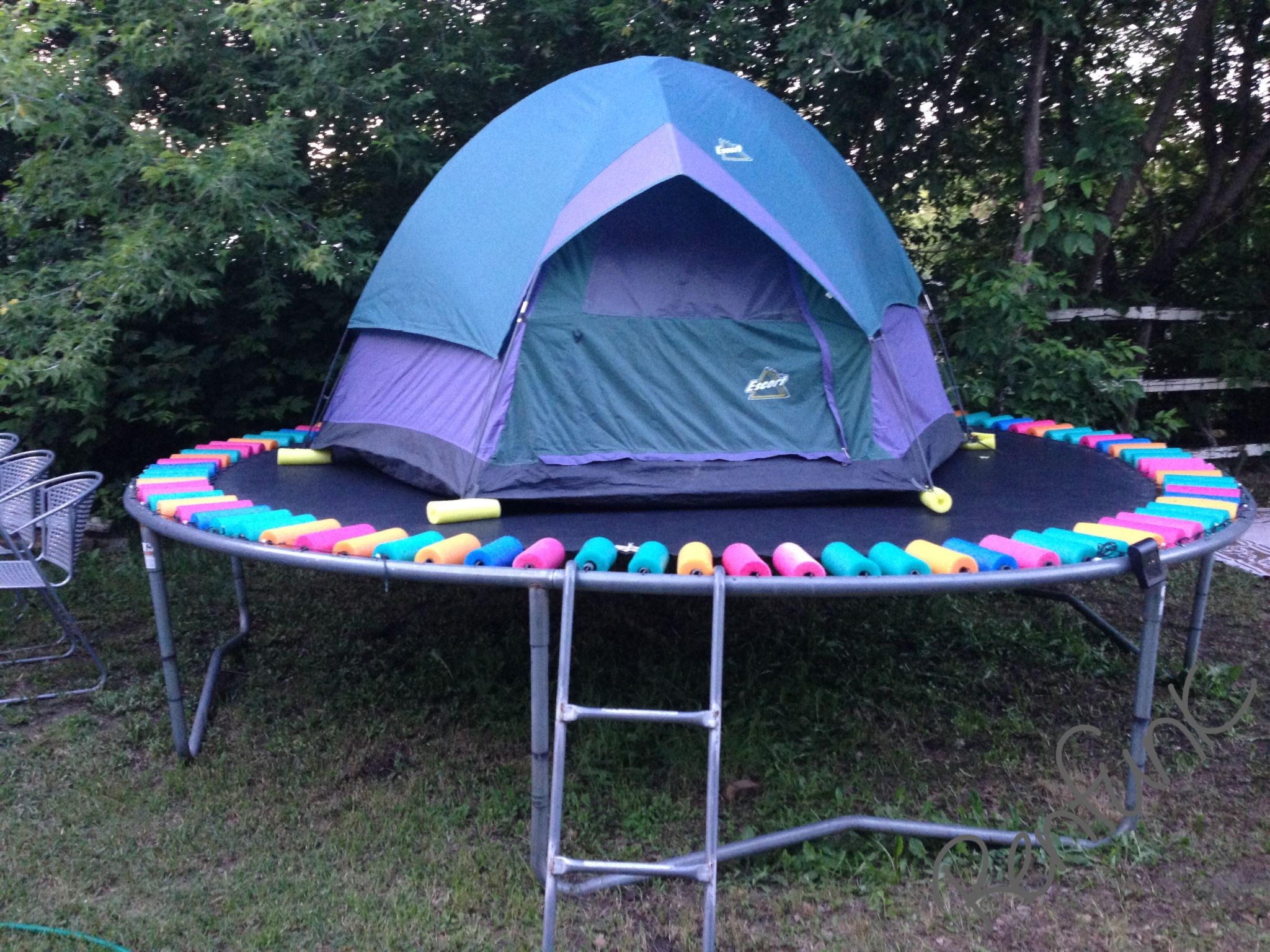 A tent on the trampoline: comfortable, up and away from critters ...