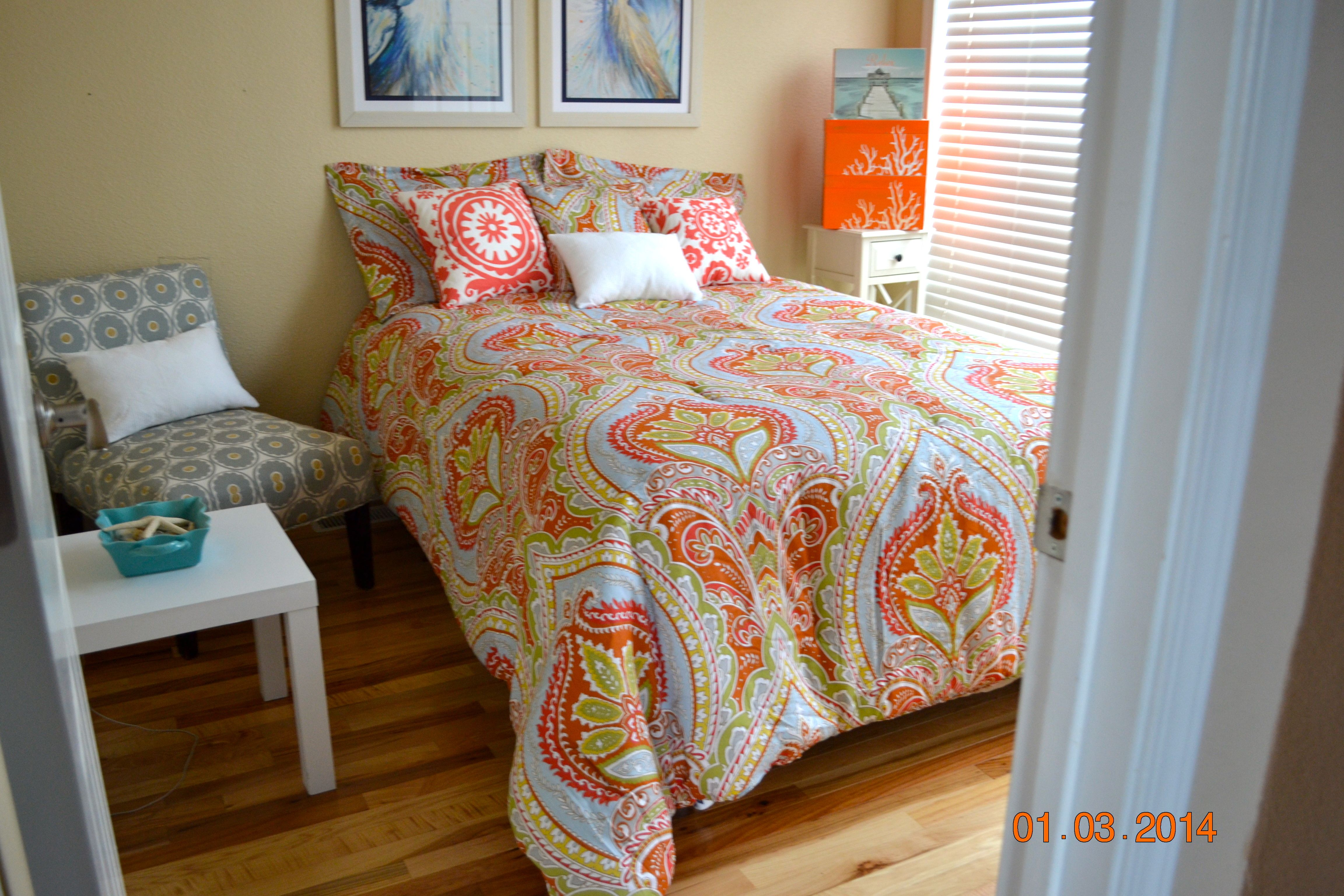 Decorated a colorful bedroom from things bought at home goods.
