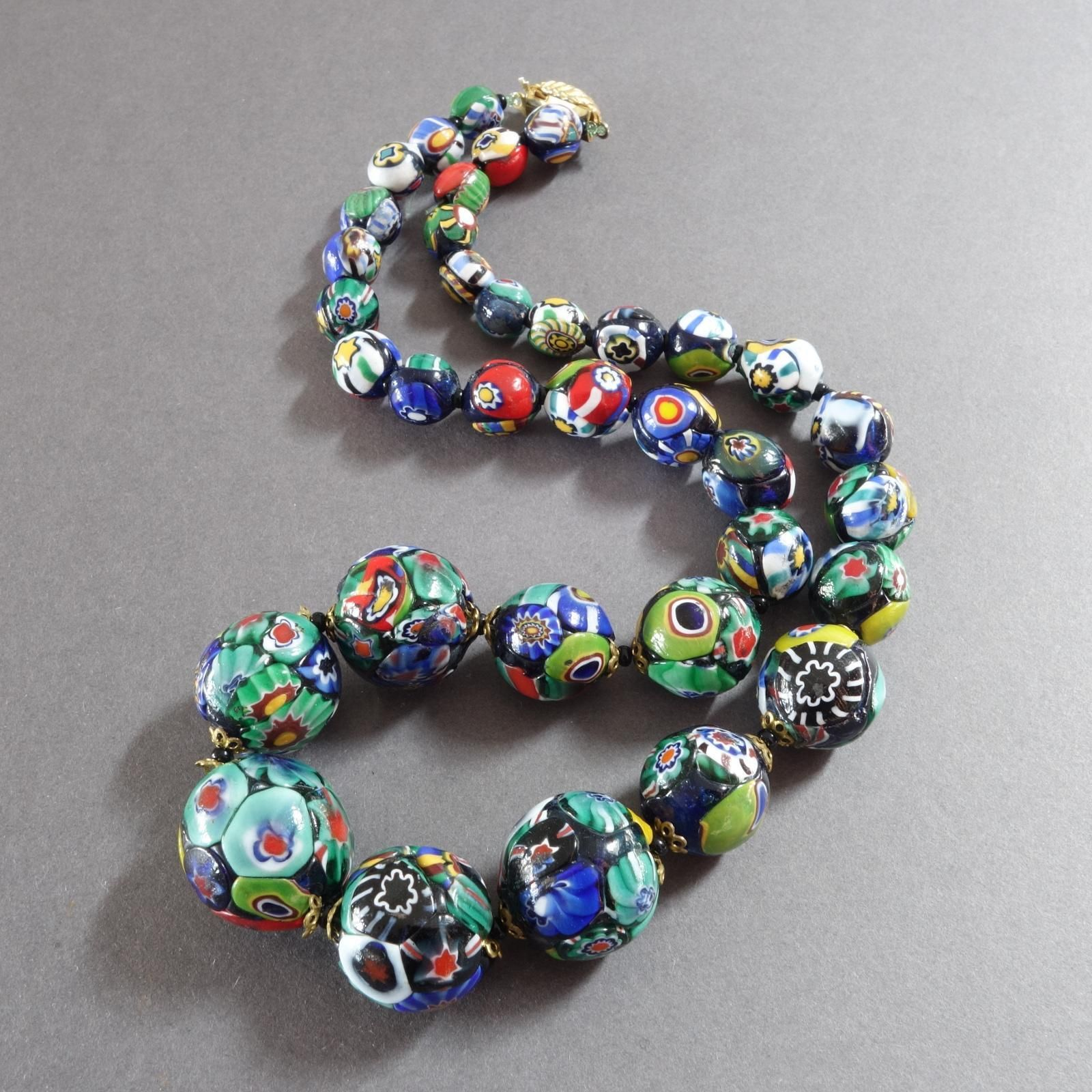 festival necklace seed bead necklace Millefiori necklace beaded necklace millefiori beads