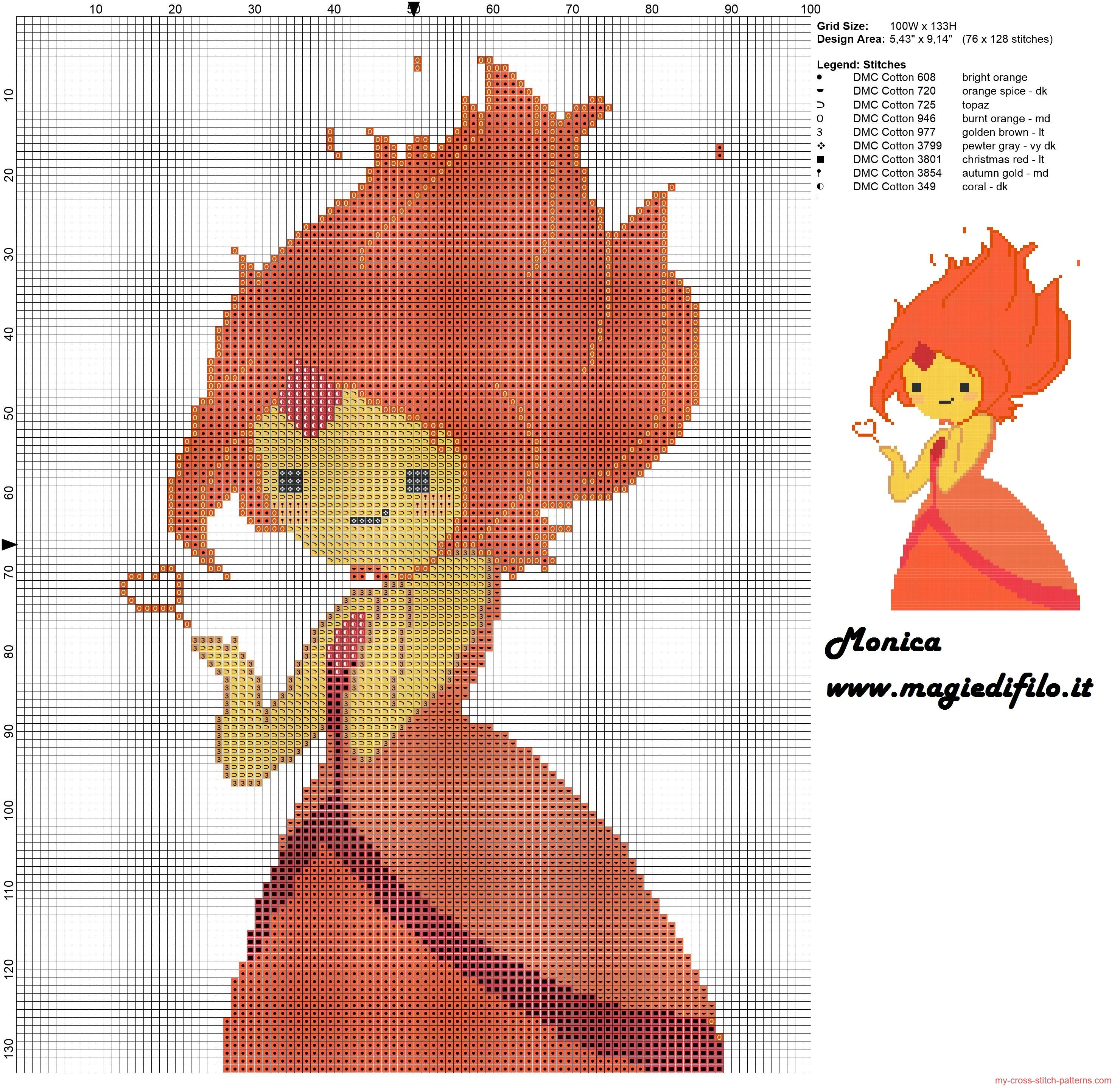 Flame Princess (Adventure Time) cross stitch pattern | needles ...