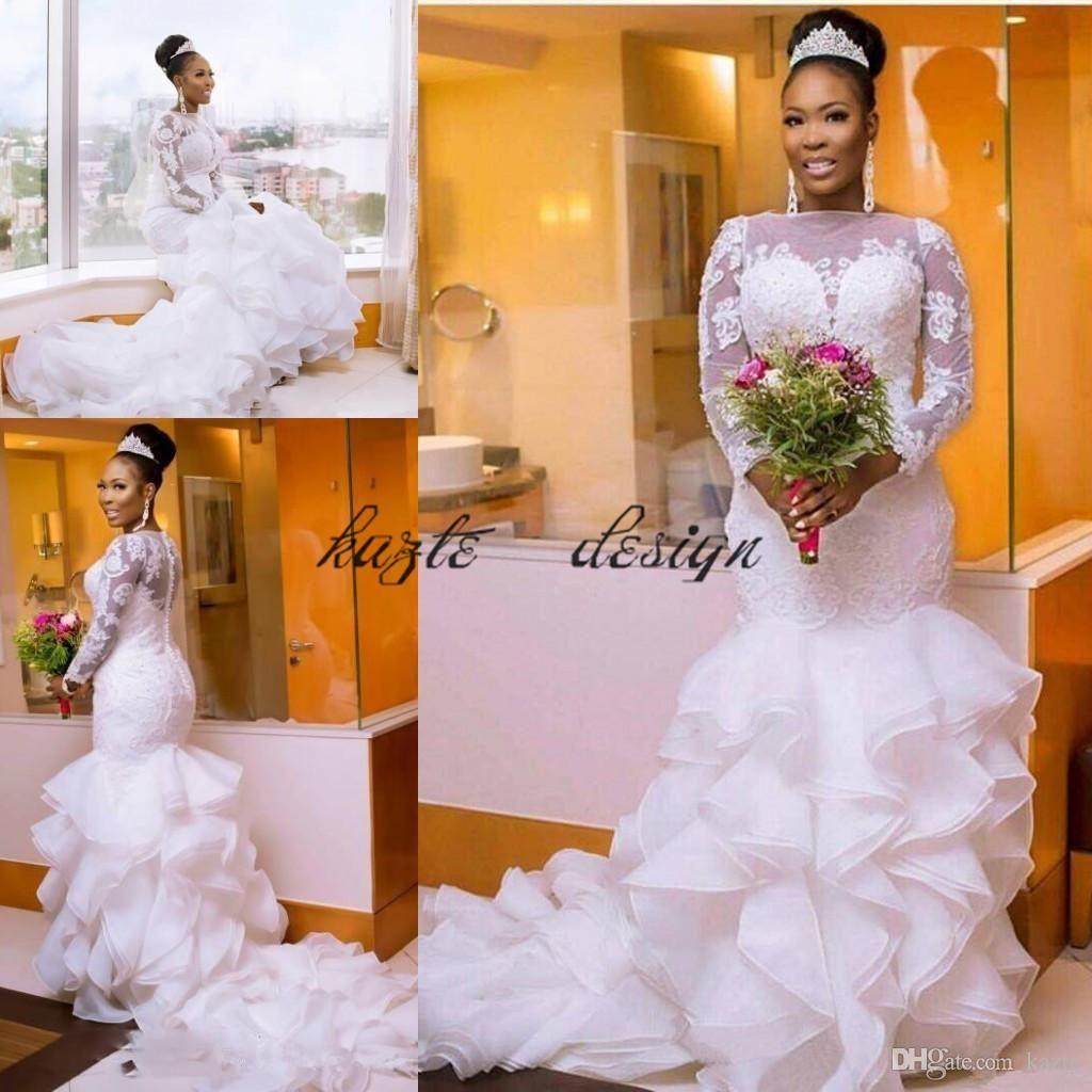 a1a71d29d9c 2018 Vintage White Mermaid Wedding Dresses African Ruffled Organza Long  Sleeves Appliques Bridal Gowns Nigerian Vestido