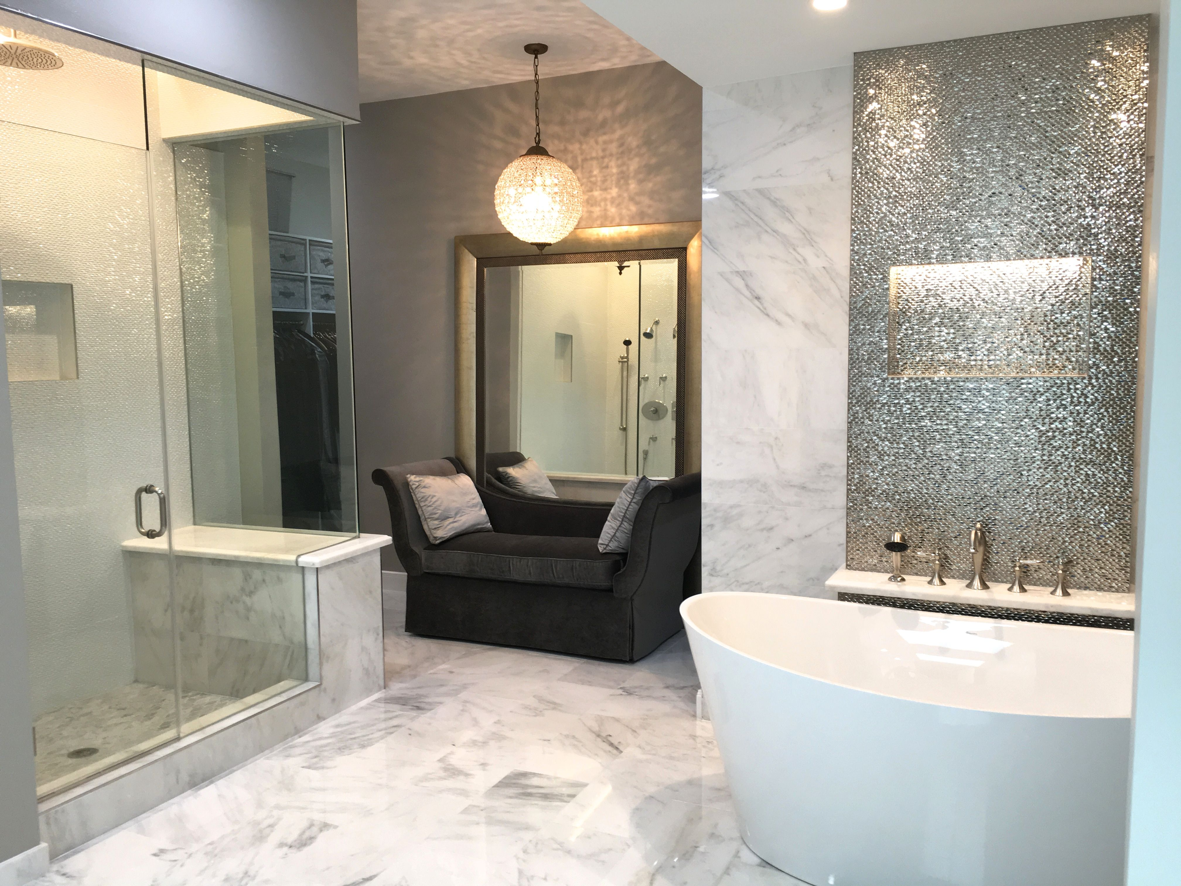 Master Bathroom With White Marble Freestanding Tub And Large Shower Bainultra Porcelanosa