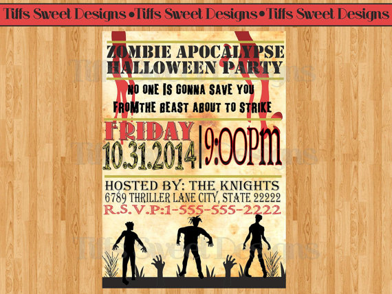 Zombie Birthday Invitation Printable, Digital Zombie Apocolypse ...