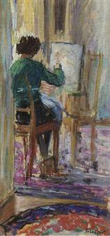Marthe à son chevalet By Henri Lebasque