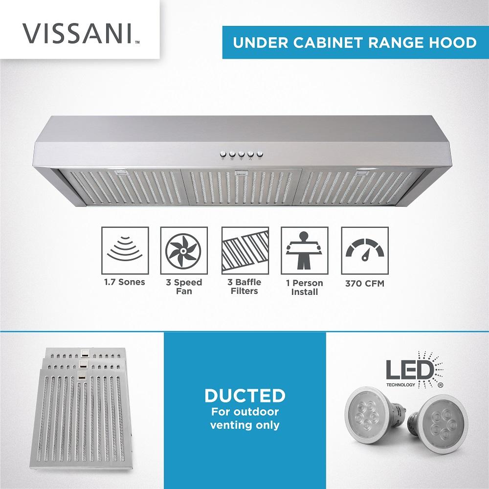 Vissani 36 In W Under Cabinet Range Hood In Stainless Steel Qr372s The Home Depot Range Hood Led Bulb Under Cabinet Range Hoods