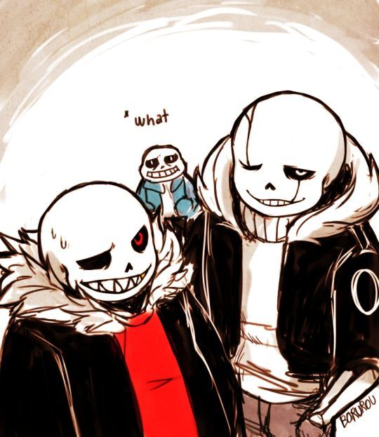 By borurou Underfell!sans and GB!sans, and sans, looking a