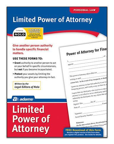 Limited Power of Attorney Forms and Instruction (Set of 6 - limited power of attorney forms