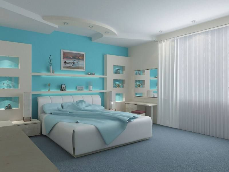 room teal blue white - Blue And White Bedroom Designs