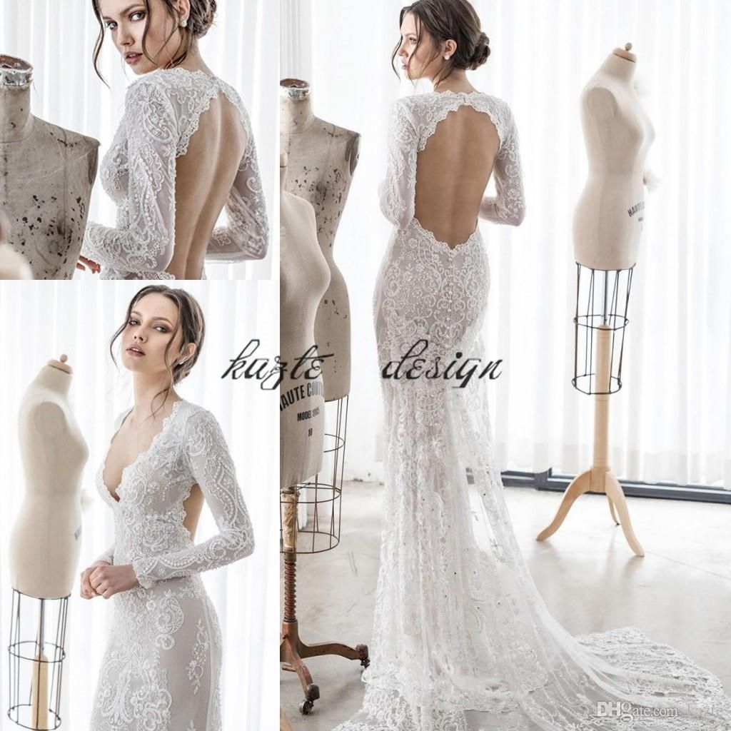 Asaf dadush mermaid wedding dresses backless deep v neck pearls long