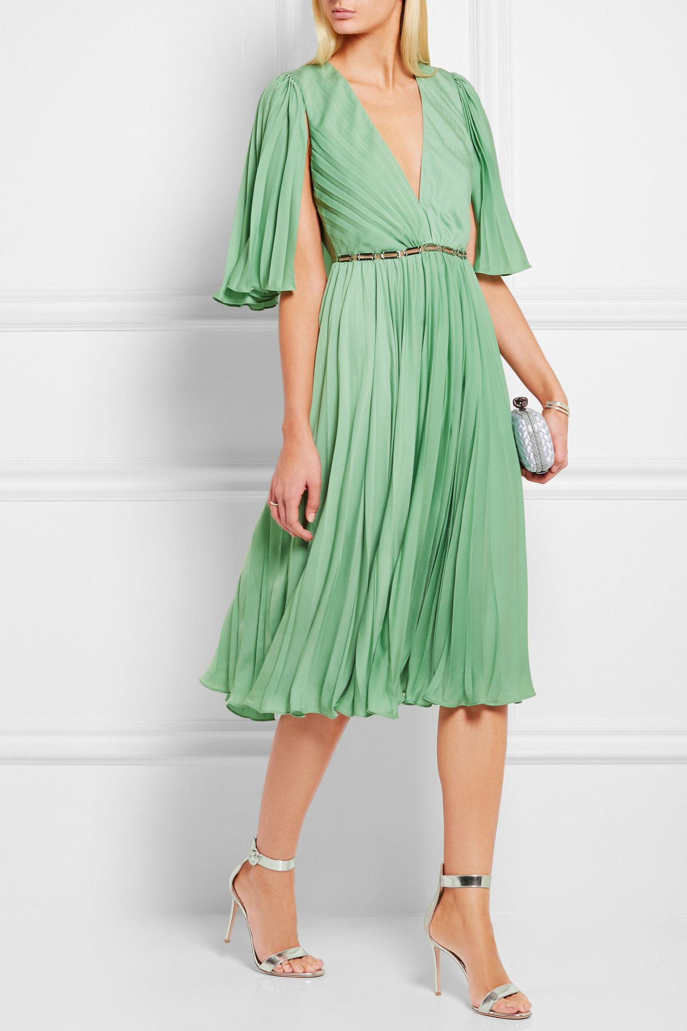 Halston Heritage Green Cape-back Pleated Crepe De Chine Dress | 4 ...
