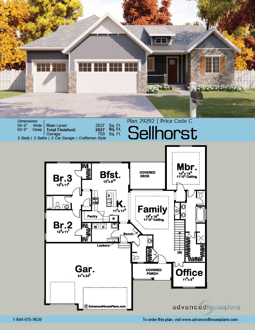 1 Story Craftsman House Plan Sellhorst Craftsman House Plans Craftsman House Craftsman House Plan