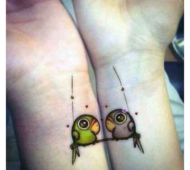 Lovebirds  tattoos couple matching love