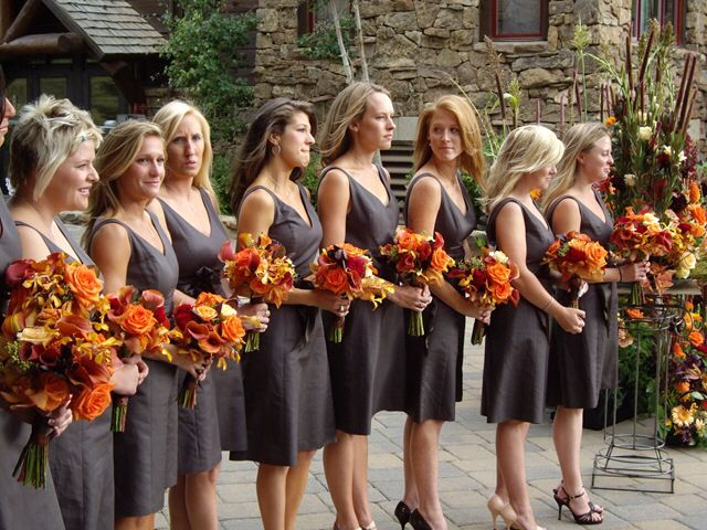 Fall Color Bouquets For Grey Bridesmaid Dresses Bridal Party In