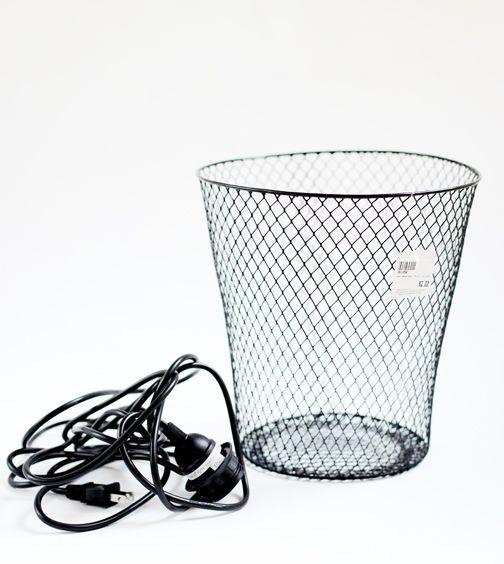 poppytalk  diy  wire waste basket turned pendant light