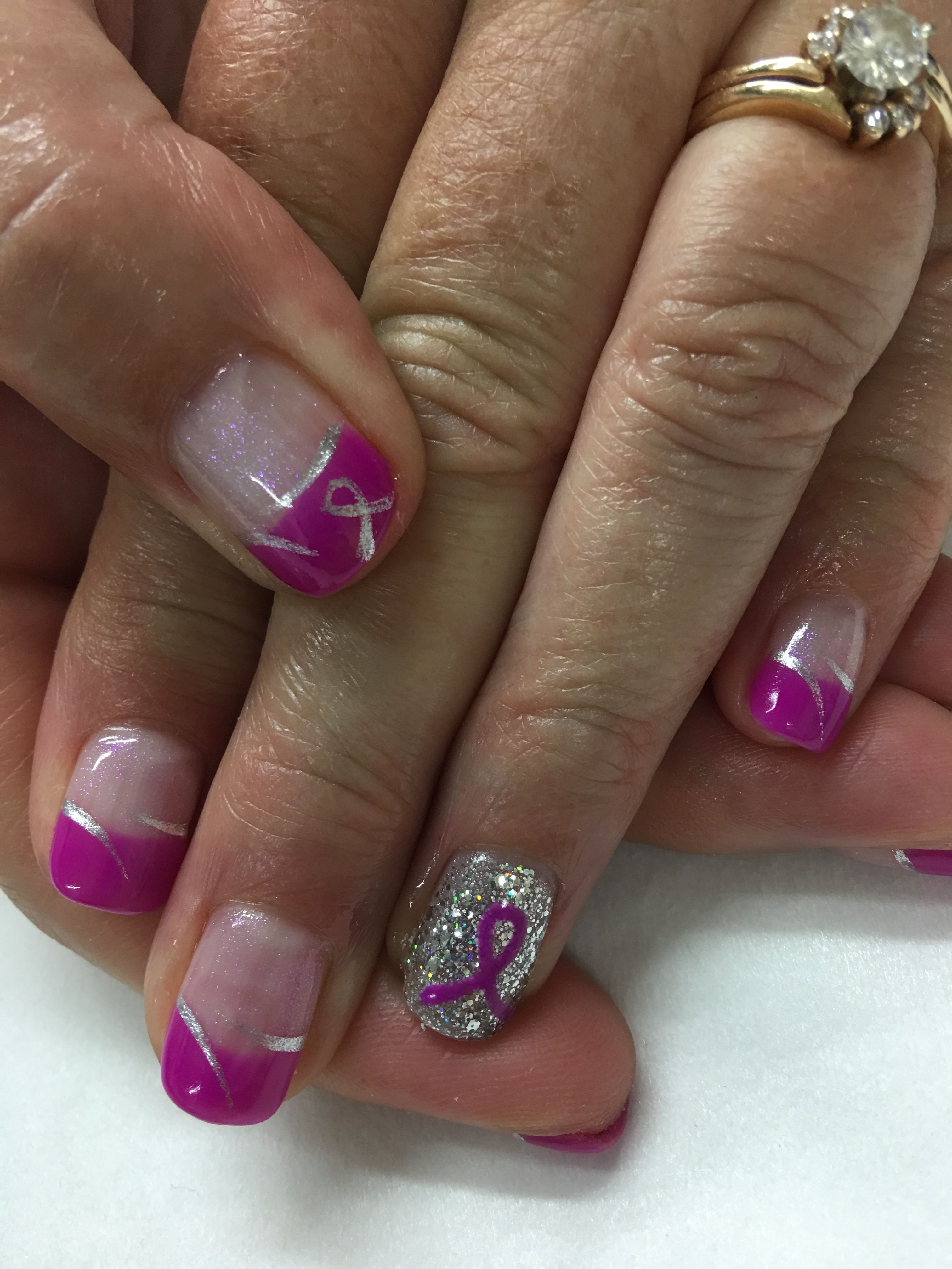 Pink Silver Pink Ribbon French Gel Nails Pink Ribbon Nails Cancer Nails Gel Nail Designs