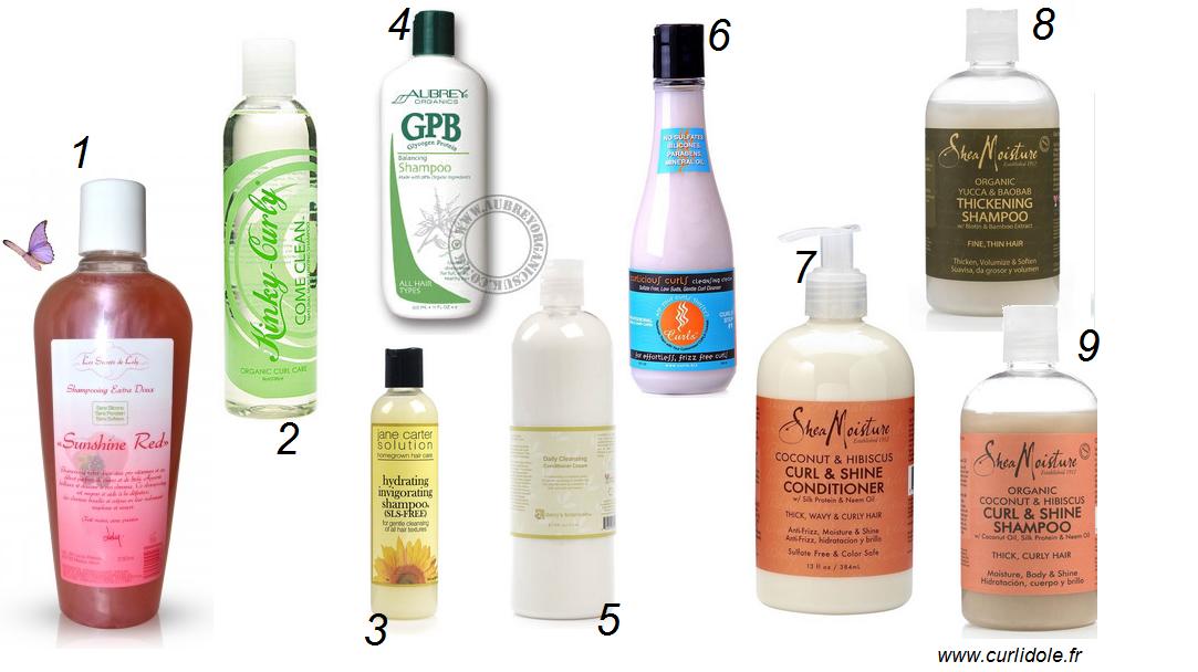 Sélection de produits pour cheveux crépus/frisés/bouclés et en transition