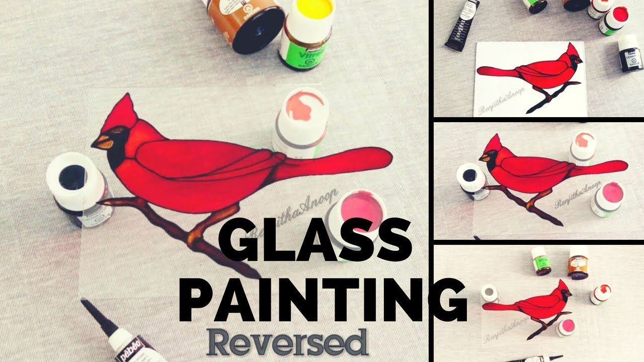 Cardinal Painting On Glass How To Paint Cardinal Simple And Easy Glass Painting Youtube Cardinal Painting Glass Painting Painting Glassware