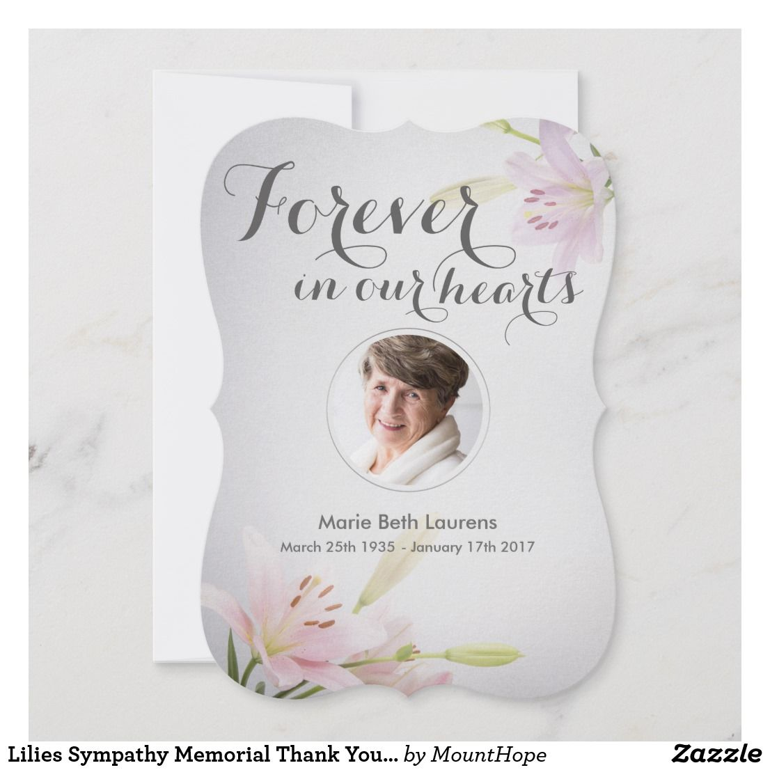 Lilies Sympathy Memorial Thank You Card With Photo Zazzle Com
