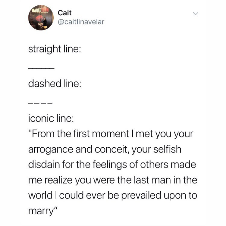 """Literary Memes on Instagram: """"Please do not ask me why I am posting so many Pride and Prejudice memes lately. • • ID: a Twitter post: """"Straight line: (It shows a…"""""""