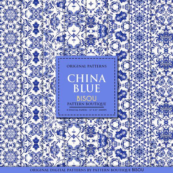 China Blue Digital Paper Blue Digital Paper Oriental Digital Paper Scrapbook Paper White Porcelain Pat Digital Paper Blue Scrapbook Digital Scrapbook Paper