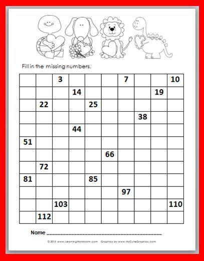 Free Valentine\'s Day 120 Number Chart FiII-In Printable | matematika ...