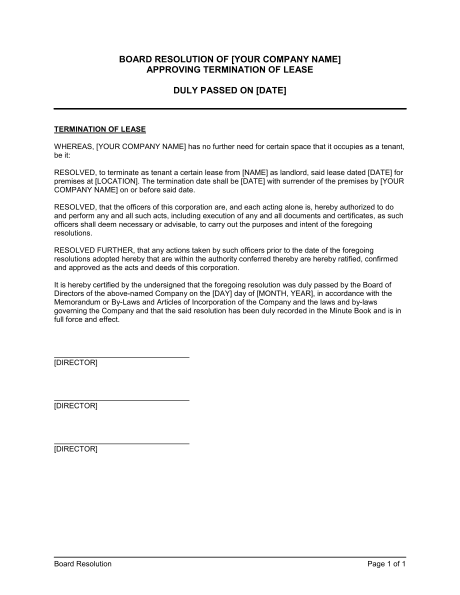 termination of lease letter from landlord Board Resolution to ...
